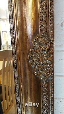 Large Antique Brown Gold Ornate French Leaner Gilt Wall Mirror Glass 190x90cm