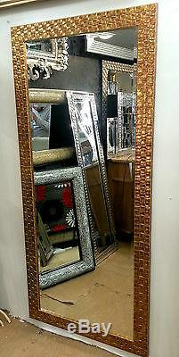 Large Antique Gold Mosaic Wood Wall Mirror Bevelled John Lewis167x76cm Leaner