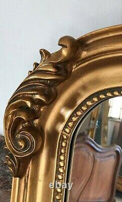 Large Antique Gold Statement French Over Mantle Arch Fireplace Wall Mirror 5ft