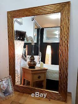 Large Antique Gold Wave Design Mirror Wood Frame Bevelled Glass79x110cm New