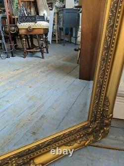 Large Antique Style Ornate Gold Wooden Wall Mantle Mirror Vintage