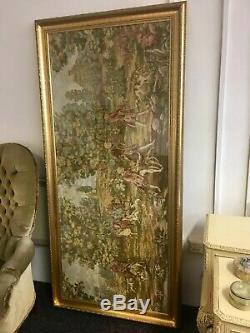 Large Antique Style Vintage Tapestry Artwork in Gold Gilt Frame Art Wall