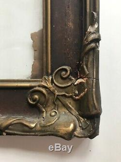 Large Antique Vintage Wood Frame Hanging wall Painted Flowers Gold Trim 17 X 31