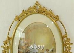 Large Antique/Vtg 25 Oval Gold Metal ROSES & CONVEX Glass Picture Wall Frame
