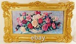 Large Antique/Vtg 36 Ornate Gold Syroco ROSES Flower Floral Framed Wall Picture
