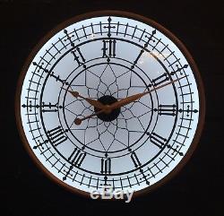 Large Antiqued Gold Metal Frame Back Lit Glass Wall Clock 60 cm Diameter