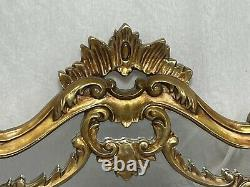 Large Fine French Regency Gilt Pier Glass Acanthus Crown Wall Overmantle Mirror