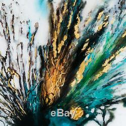 Large Floral Colour Explosion Glass Image In Gold Frame PICTURE WALL ART