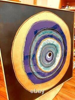 Large Framed Handmade Evil Eye Artwork Resin Painting Blue Gold Decor Wall Art
