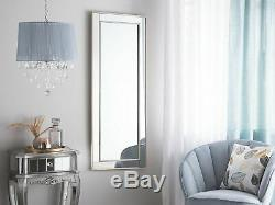 Large Framed Wall Mirror Silver Frame Angled Beveled Panels 50 x 130 cm Fenioux