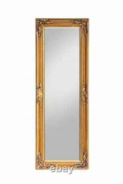 Large French Vintage Wall Mirror 130cm x 45 cm Solid Wood (Gold)