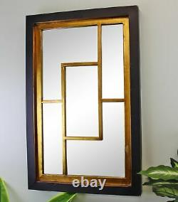 Large Geometric Black & Gold Framed Wall Hanging Mirror Rectangle Decor Mirrors