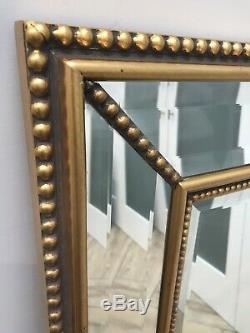 Large Gold Gilt Wall Mirror Ornate Wood Frame Rectangular Bevelled Glass