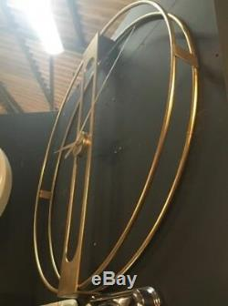 Large Gold Metal Double Frame Round Wall Clock 107 cm Diameter x