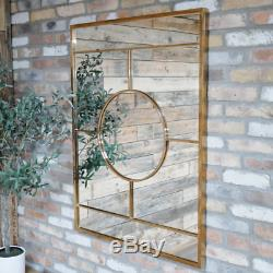 Large Gold Mirror Wall Mountable Hallway Hanging 7 Panel Metal Frame Decoration