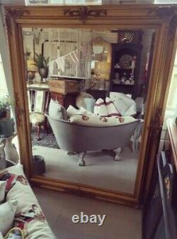 Large Gold Ornate Bevelled Decorative Mirror Over Mantle Lean Against the wall