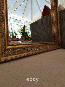 Large Gold Trim Beaded Antique Style Wall Mirror