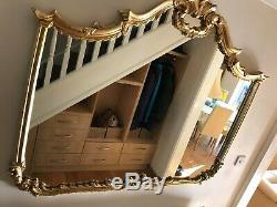 Large Gold wall-hanging Mirror, Ornately Gilt-Framed Baroque/Rococo Style