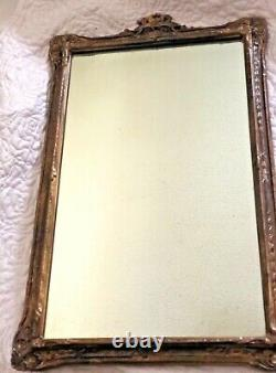 Large Hand Carved Hard Wood Relief Framed Wall Mirror Antique Ornate 23 Wooden