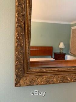 Large Heavy GOLD Tone Framed WALL MIRROR Ornate Frame Embossed 32 x 24 Mantle