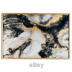 Large Marble Effect Black And Gold Glass Image In Gold Frame Display On A Wall