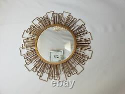 Large Metal Wire Frame Round Wall Mirror Gold Geometric Art Accent Retro 80cm