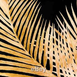 Large Metallic Palm Glass Image In Gold Frame Frame Wall Art