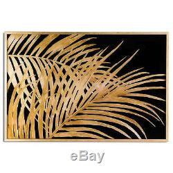 Large Metallic Palm Leaf Glass Image In Gold Frame Wall Art
