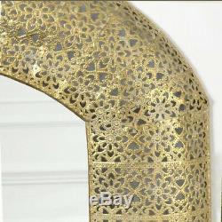 Large Moroccan Mirror Gold Marrakesh Metal Wall Hanging Art Metallic Decor Frame