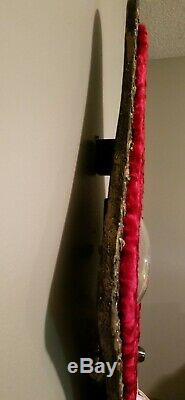 Large Red Velvet Vintage Wall Clock withGold and Black frame lounge bar man cave