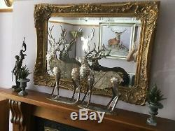 Large Rococo Wall Mantle Mirror in Rich Gold Tone, Bevelled Glass Stunning