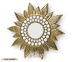 Large Round Sunflower wall Mirror Decor 31.5 Wood frame covered in Gold leaf