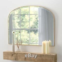 Large Simplicity Mantle Gold Framed Arched Wall Overmantle Mirror