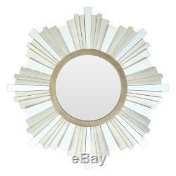 Large Sorrel Round Metallic Gold Wall Mirror Opulent Boutique Hotel Corona Frame