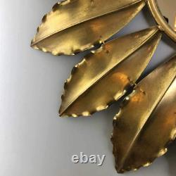 Large Sunburst Mirror Golden Petals Round Metal Wall Hanging Modern Home Decor
