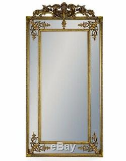 Large Tall Antique Gold Ornate Carved French Crest Wall Mirror 183cm x 91cm