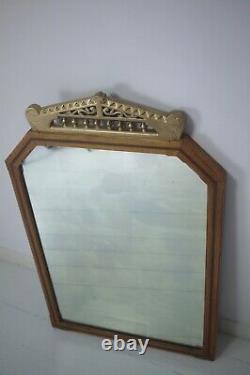 Large Vintage Antique Victorian Oak Framed Mirror Wall Bathroom Bedroom Foxed