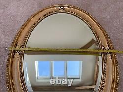 Large, Vintage Bevelled Oval Wall Mirror Ornate Wooden Frame, Gilt