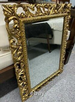 Large Vintage Carved Gilt Wood Gesso'Florentine' Framed Wall Mirror
