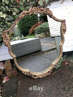 Large Vintage Ornate Gold Framed Wall Mirror Lovely Oval Gold Portrait Mirror