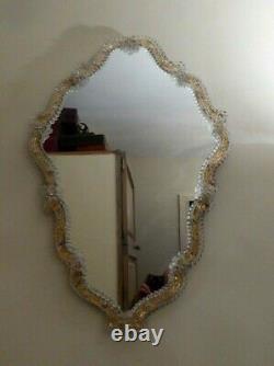 Large Vintage Venetian Glass Murano Wall Mirror MID Century Italy Gold