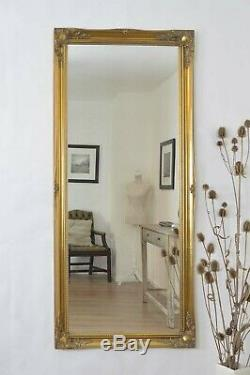 Large Wall Mirror 5Ft6 x 2Ft6 167cm x 76cm Gold Ornate Antique Style Mounted