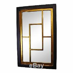 Large Wall Mirror Black & Gold Geometric Hallway Living Bed Room Statement Decor