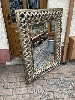 Large Wall Mirror, R V Astley, cross Stitched Frame, distressed Gold