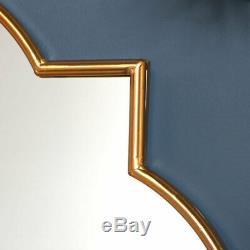 Large decorative gold wall mirror quatrefoil shape exotic eastern living room