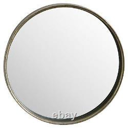 Large round WALL MIRROR metal gold brass tone slim frame 70cm