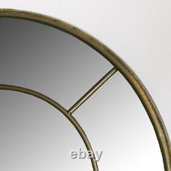 Large rustic gold metal frame arch window style wall mirror living room hallway