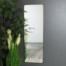 Large tall wall floor leaner brushed gold metal framed mirror vintage chic decor