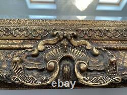 Large vintage gilt gold ornate framed wall mirror (157cmx125cm) good condition