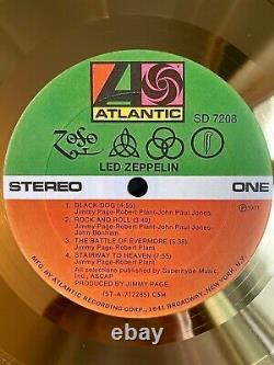 Led Zeppelin IV 1971 Custom 24k Gold Vinyl Record in Wall Hanging Frame